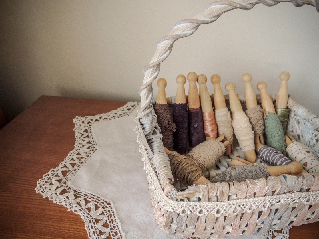 Ribbon and lace on dolly pegs