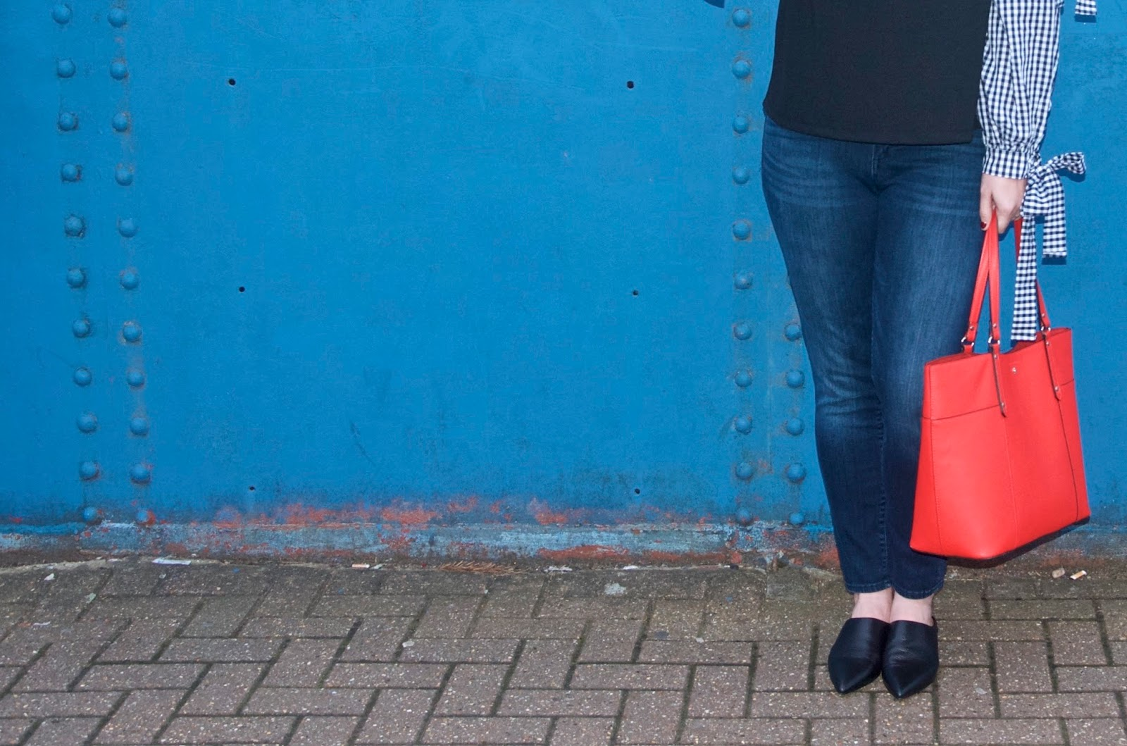 red back and black leather mules