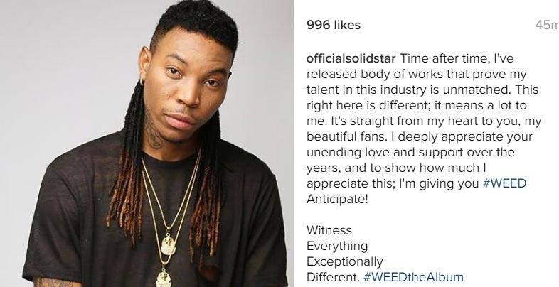"Solidstar names his new album ""WEED"""