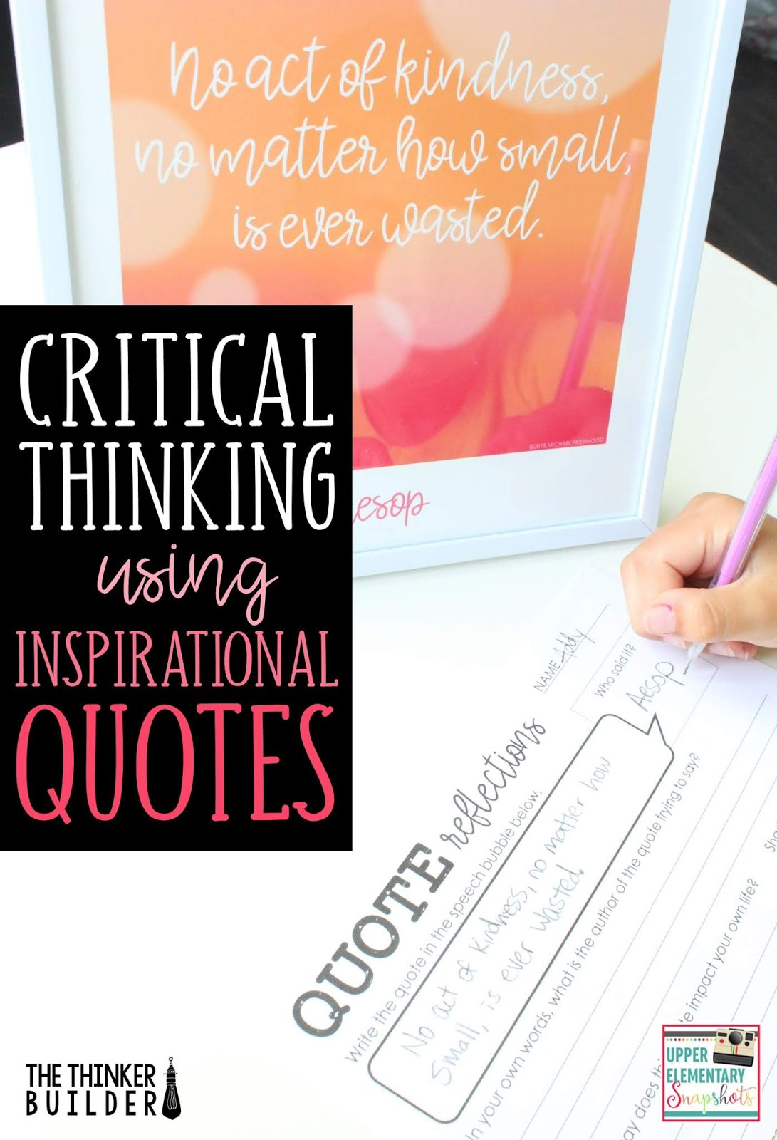 critical thinking using inspirational quotes | upper elementary