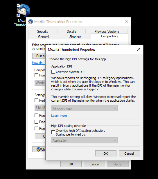 How to Change High DPI Settings of Desktop App in Windows 10