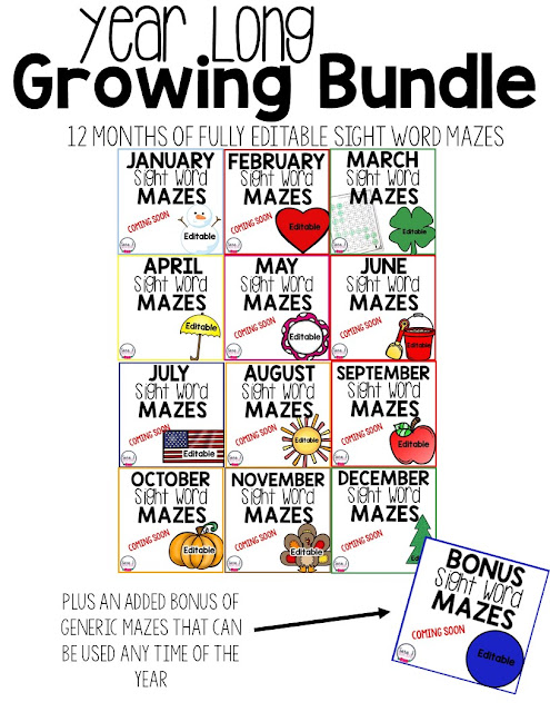 Sight word mazes make the perfect printable practice activities for reviewing sight words.  Fully editable and different mazes for each month of the year - year round practice.
