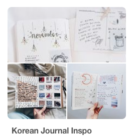 Cover of my Pinterest board with inspiration for your journal in korean