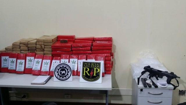Operações resultam na prisão de traficantes e apreensão de 175kg de maconha e metralhadora