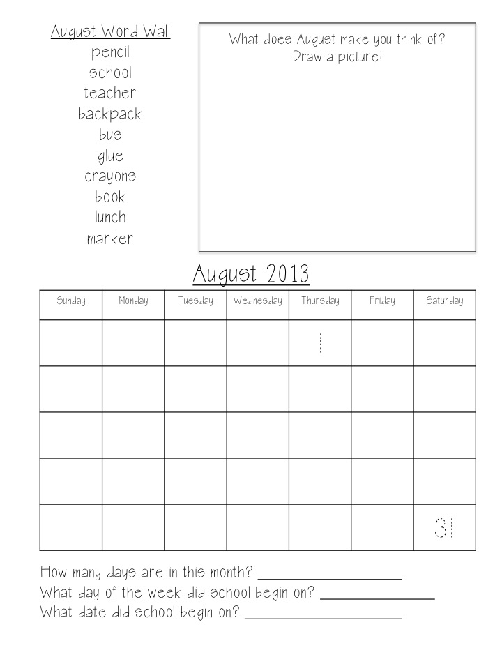 Flying High In First Grade: Calendar and Problem Solving