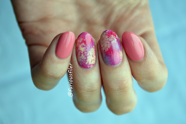 Pink, sponging,abstract,  summer nails