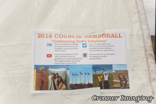 Cramer Imaging's photograph of the Grand Teton Council 2016 Jamboral communications flyer on a tent in Firth, Idaho