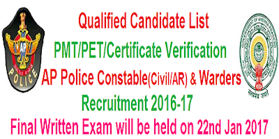 PMT/PET Qualified list of AP Police Constable and Warders recruitment