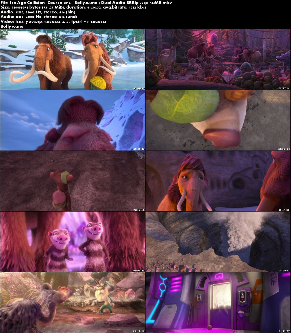 Ice Age Collision Course 2016 BRRip 700MB Hindi Dual Audio 720p Download