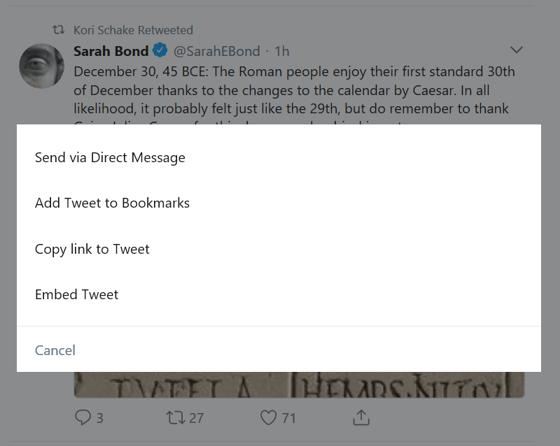 Twitter Lite Add to Bookmarks menu