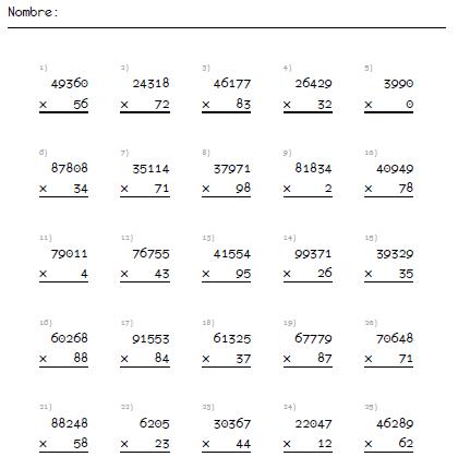 Multiplicaciones Por 1 Y 2 Cifras