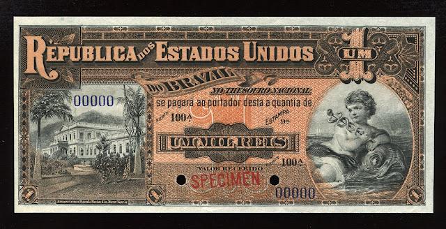 World Paper Money Brazil Currency Mil Reis banknote bill