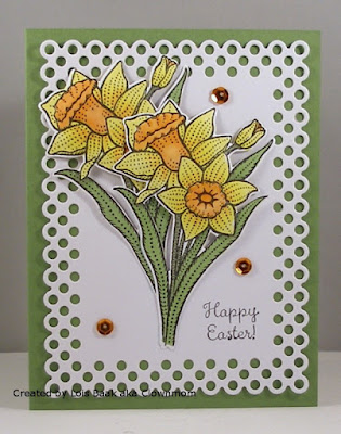 ODBD Daffodils, ODBD Custom Daffodil Die, ODBD Custom Circle Scalloped Rectangles Dies, Card Created by Lois Baak aka Clownmom