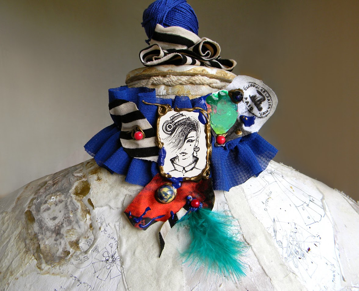 Textile Neck Piece Choker with Original Illustration in Retro Chic Collage Style