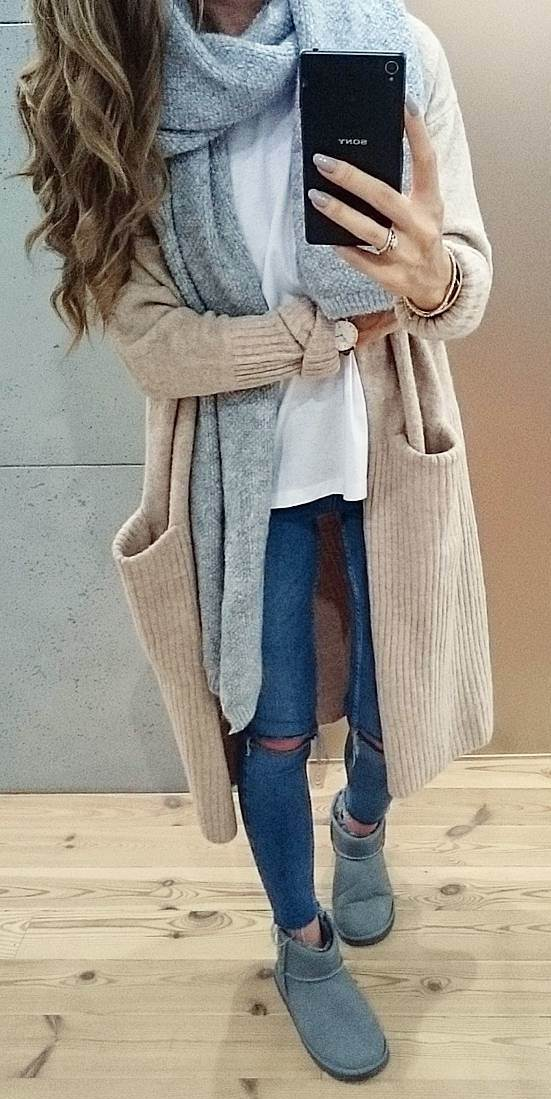 how to style a long nude cardi : knit scarf + jeans + top