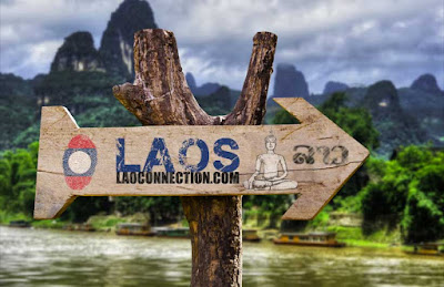 Laos Laoconnection.com scenic directional sign