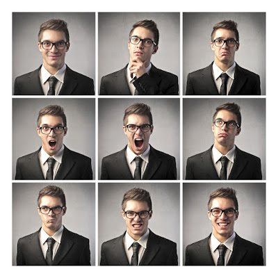 9 photos of the same man in 9 different moods