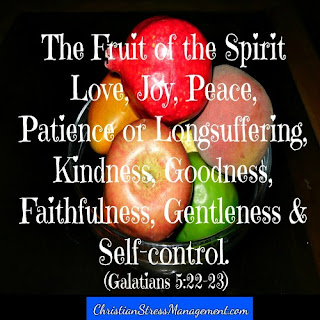The fruit of the spirit is love, joy, peace, patience, kindness, goodness, faithfulness, gentleness and self-control Galatians 5:22-23