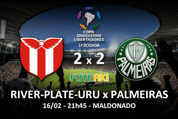 Veja o resumo da partida com os gols e os melhores momentos de River Plate-URU 2x2 Palmeiras pela 1ª rodada da Copa Libertadores da América 2016.