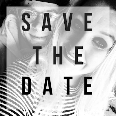 black and white save the date image with picture of vicki and her finace michael