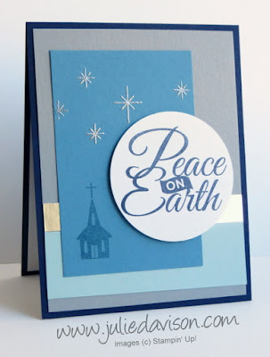Stampin' Up! Be Jolly, By Golly Peace on Earth Christmas Card with heat embossing #stampinup www.juliedavison.com