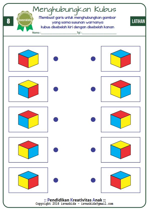 Asah Otak Anak Dengan Kubus Warna Worksheet 8 Edukasi Anak