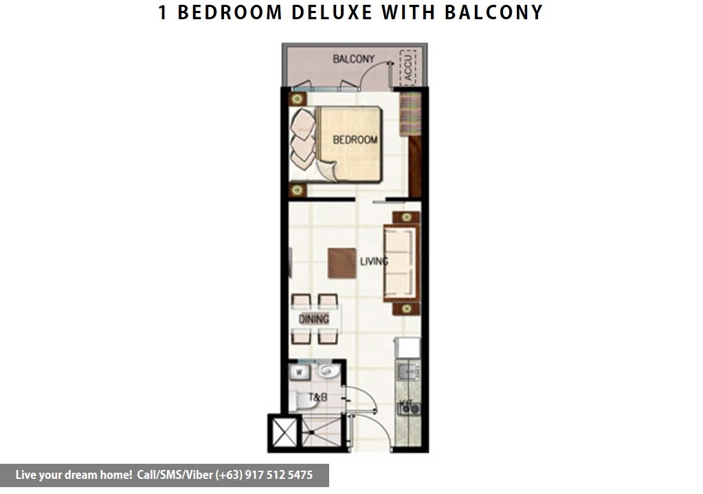 Floor Plan of SMDC Green Residences - 1 Bedroom Deluxe With Balcony | Condominium for Sale Taft Malate Manila