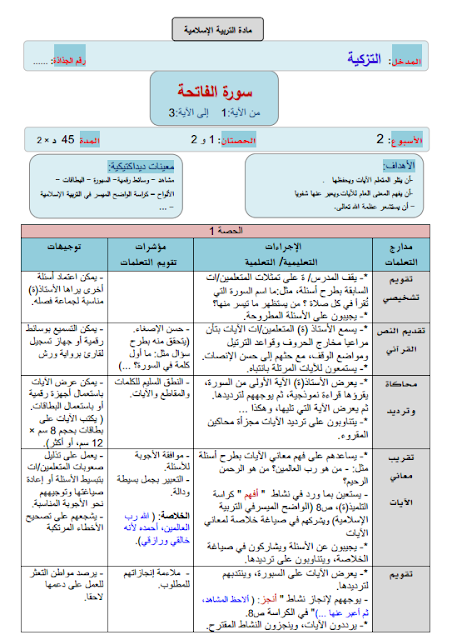 دليل وجميع جذاذت الواضح في التربية الاسلامية المستوى الأول ابتدائي