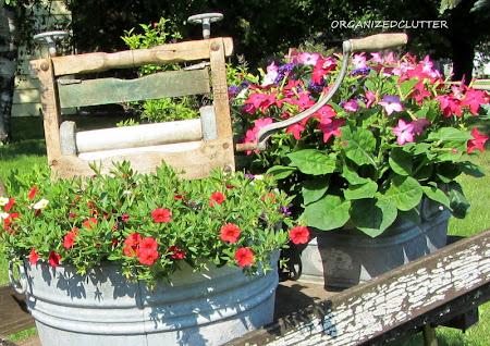 Laundry Themed Wheelbarrow Plantings