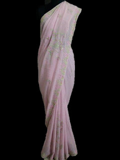 Pink Resham Thread Saree