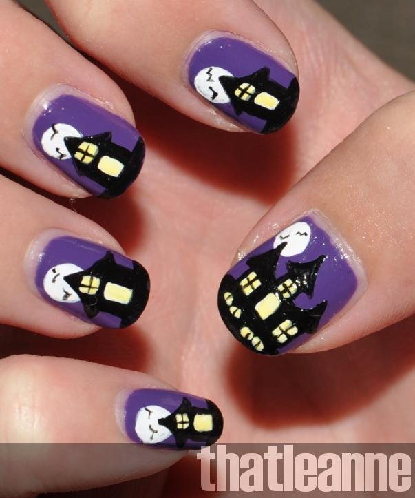 thatleanne: Spooky haunted house nail art for Halloween!