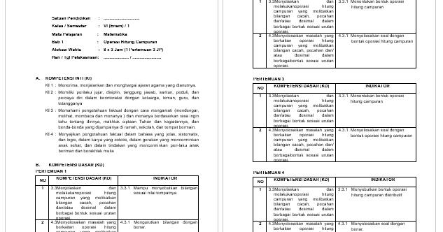RPP Matematika Kelas 6 Revisi 2018 Kurikulum 2013  GURU MAJU