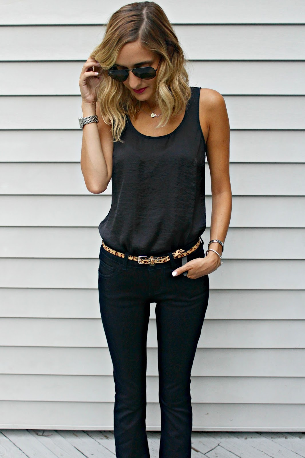 leopard belt on monochrome outfit