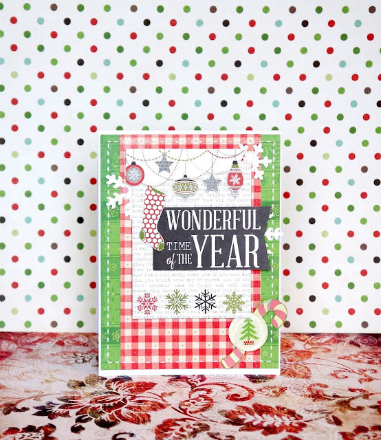 New Year handmade card in red and green tones.