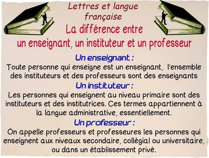 La différence entre enseignant, professeur et instituteur