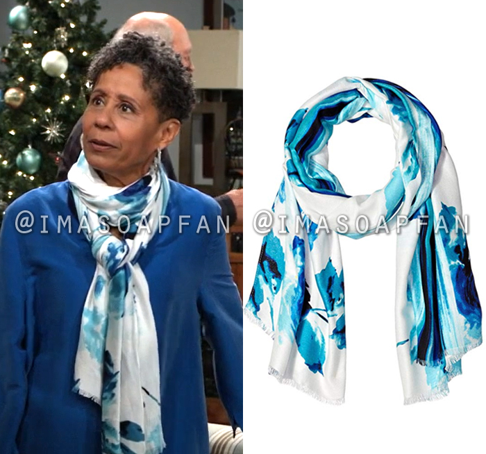 Stella Henry, Vernee Watson, Blue and White Watercolor Floral Scarf, General Hospital, GH