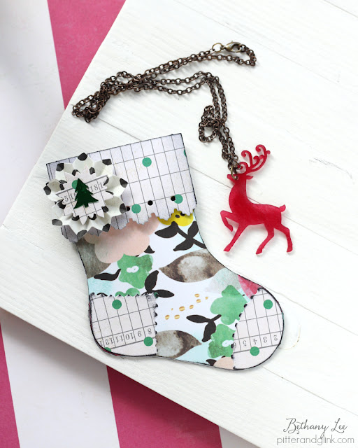Mini Paper Stocking Gift Holder and Reindeer Necklace