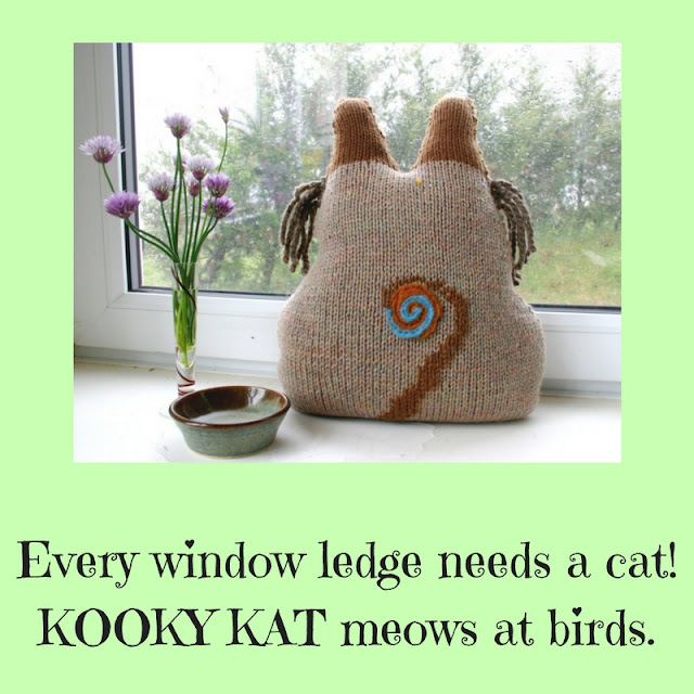 Kooky Kat Folk Pillow backside view by Minaz Jantz