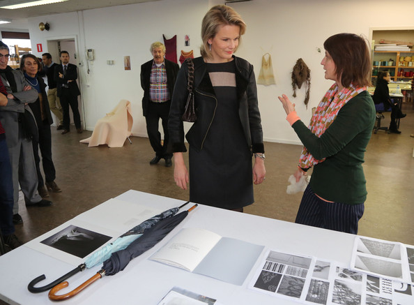 Princess Mathilde visits the ENSAV Arts Academy in Brussels. Crown Princess Mathilde in leather jacket