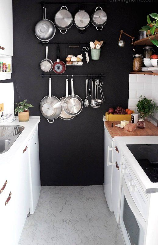 dark wall in kitchen makes the utensils and accessories pop-design addict mom