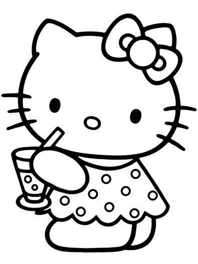 Tranh tô màu mèo hello kitty uống nước