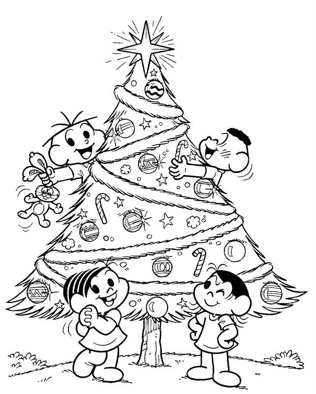 Desenho Natal A Turma Da Mônica Para Pintar Desenhos Preto