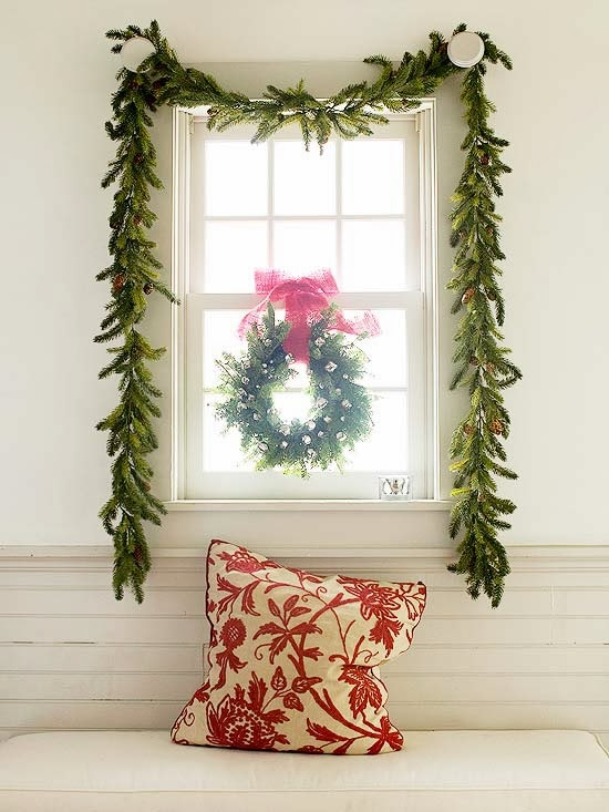 inside the brick house decorate with christmas garland swags. Black Bedroom Furniture Sets. Home Design Ideas