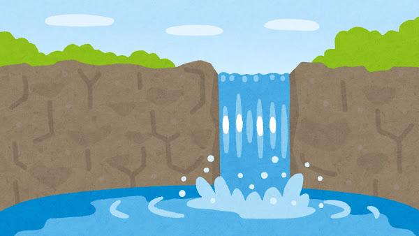 滝のイラスト(背景素材)