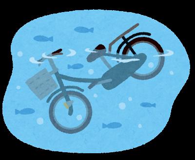 川に捨てられた自転車のイラスト