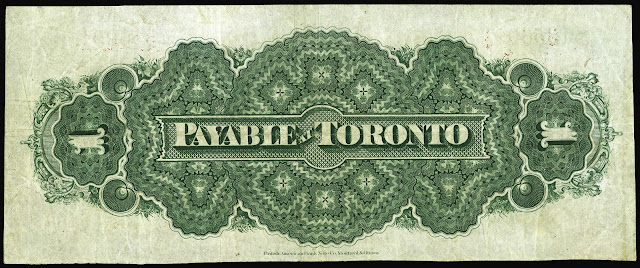 Dominion of Canada One Dollar Bill 1870 PAYABLE AT TORONTO