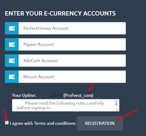 Регистрация в UpRiseMoney 2