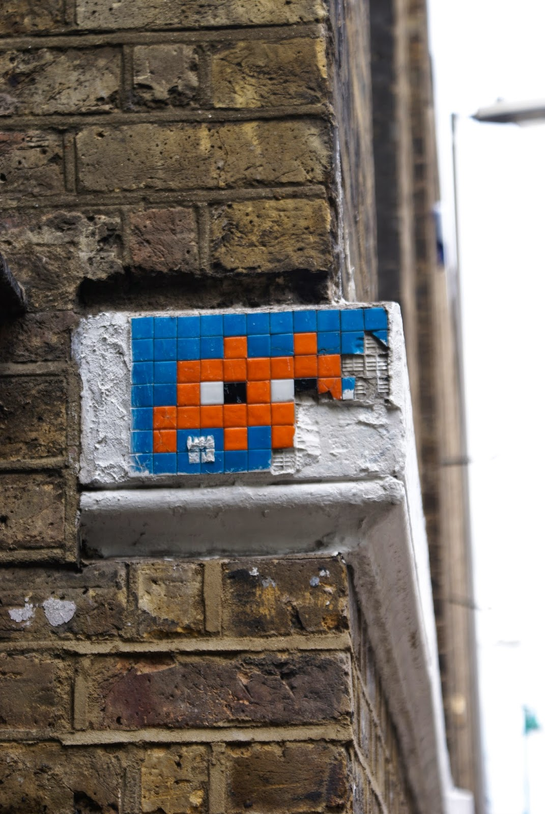 street art space invader pixel brick lane london spitalfields united kingdom uk europe