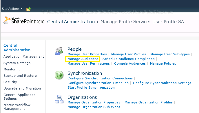 sharepoint 2010 audience targeting central admin