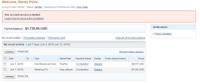 Contoh Paypal yang Terkena Limit